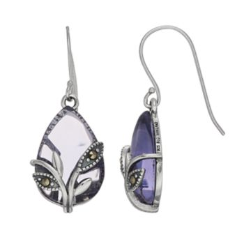 Tori Hill Sterling Silver Purple Glass & Marcasite Teardrop Earrings
