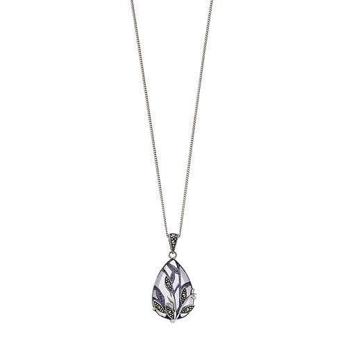 Tori Hill Sterling Silver Purple Glass & Marcasite Flower Teardrop Pendant
