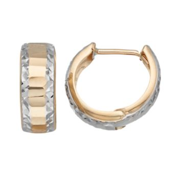 Forever 14K Two Tone Huggie Hoop Earrings