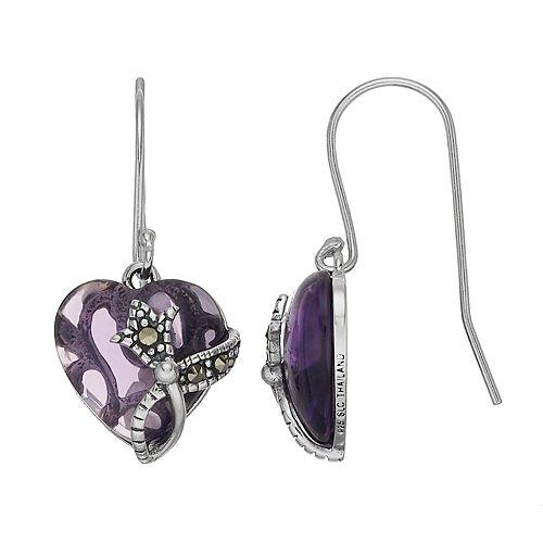 Tori Hill Sterling Silver Purple Glass & Marcasite Heart Drop Earrings