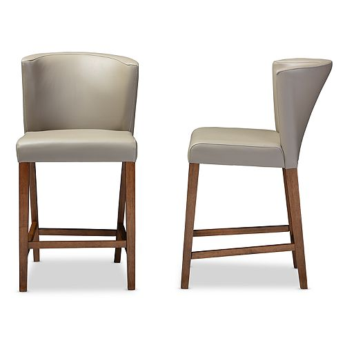 Baxton Studio Olivia Mid-Century Counter Stool 2-piece Set