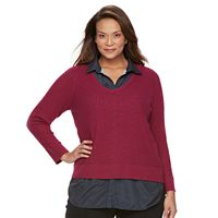 Plus Size Croft & Barrow® Mock-Layer V-Neck Sweater