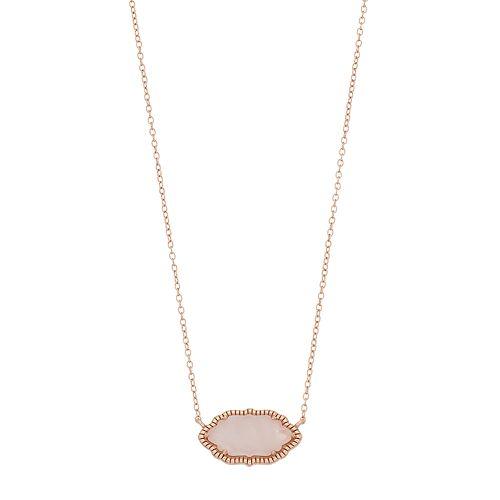 Rose Gold Tone Sterling Silver Rose Quartz Pendant Necklace