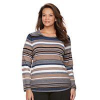 Plus Size Croft & Barrow® Striped Textured Sweater