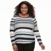 Plus Size Croft & Barrow® Striped Textured Sweater