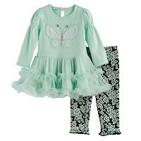 Baby Girl Nannette Butterfly Applique Tunic & Leggings Set