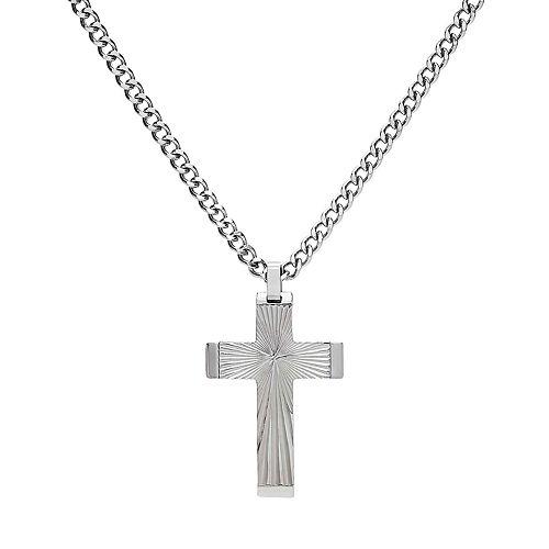Men's Stainless Steel Sunburst Cross Pendant Necklace