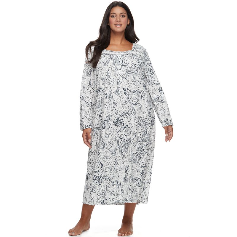 Plus Size Croft   Barrow® Pajamas  Pintuck Long Sleeve Nightgown ... a31a028bf