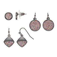 Glittery Nickel Free Geometric Stud & Drop Earring Set