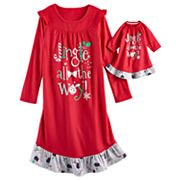 Girls 4-14 SO® Christmas 'Jingle all the Way' Nightgown & Doll Gown Pajama Set