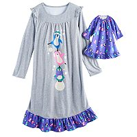 Girls 4-14 SO® Penguin Nightgown & Doll Gown Pajama Set