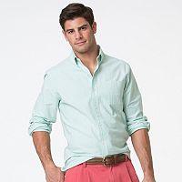 Men's Chaps Classic-Fit Plaid Stretch Oxford Button-Down Shirt
