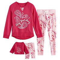 Girls 5-14 American Girl Tee & Patterned Bottoms Pajama Set
