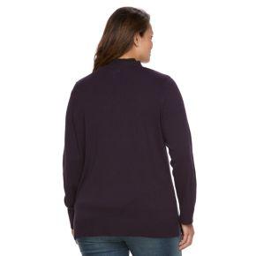 Plus Size Croft & Barrow® Button Front Long Sleeve Cardigan