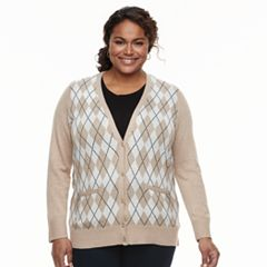 Plus Size Croft & Barrow® Button Front Long Sleeve Cardigan