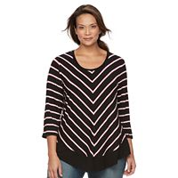 Plus Size Croft & Barrow® Striped 3/4-Sleeve Top