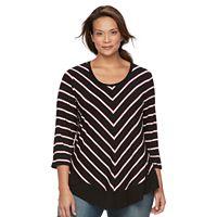 Plus Size Croft & Barrow® Striped 3/4-Sleeve Top