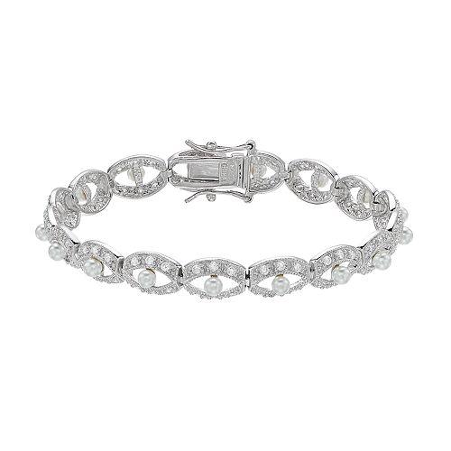 Sterling Silver Freshwater Cultured Pearl & Cubic Zirconia Bracelet