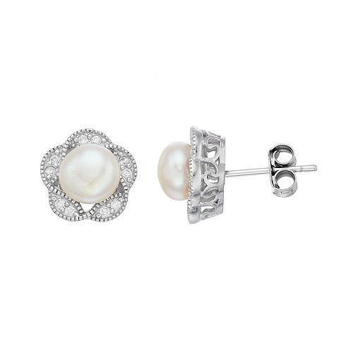 Sterling Silver Freshwater Cultured Pearl & Cubic Zirconia Flower Stud Earrings
