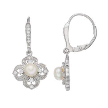 Sterling Silver Freshwater Cultured Pearl & Cubic Zirconia Flower Drop Earrings