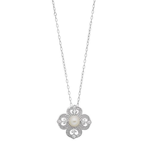 Sterling Silver Freshwater Cultured Pearl Cubic Zirconia Flower Pendant Necklace