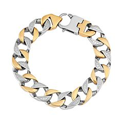 Men's Two Tone Stainless Steel Cuban Link Bracelet