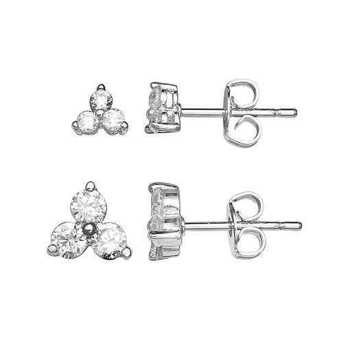 PRIMROSE Sterling Silver Cubic Zirconia Triangle Cluster Stud Earring Set