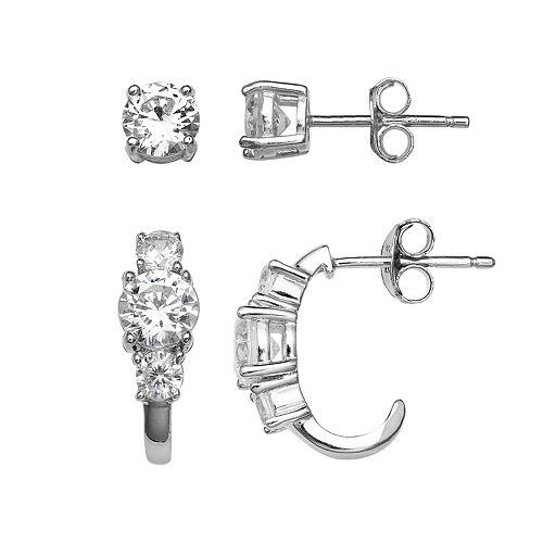 PRIMROSE Sterling Silver Cubic Zirconia Stud & 3-Stone C Hoop Earring Set