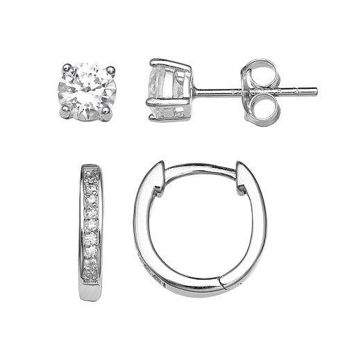 PRIMROSE Sterling Silver Cubic Zirconia Stud & Huggie Hoop Earring Set