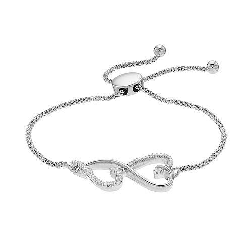 Love is Forever 1/7 Carat T.W. Double Heart Bolo Bracelet