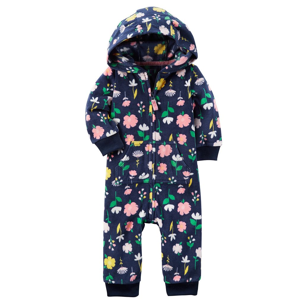 Baby Girl Carter's Floral Hooded Microfleece Coverall