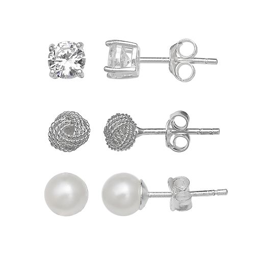 PRIMROSE Sterling Silver Cubic Zirconia, Love Knot & Simulated Pearl Stud Earring Set