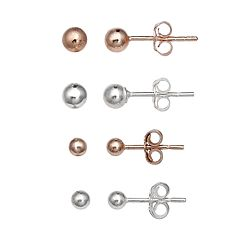 PRIMROSE Two Tone Sterling Silver Ball Stud Earrings 4-Pair Set