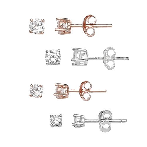 PRIMROSE Two Tone Sterling Silver Cubic Zirconia Stud Earrings 4-Pair Set