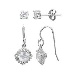 PRIMROSE Sterling Silver Cubic Zirconia Stud & Halo Drop Earring Set