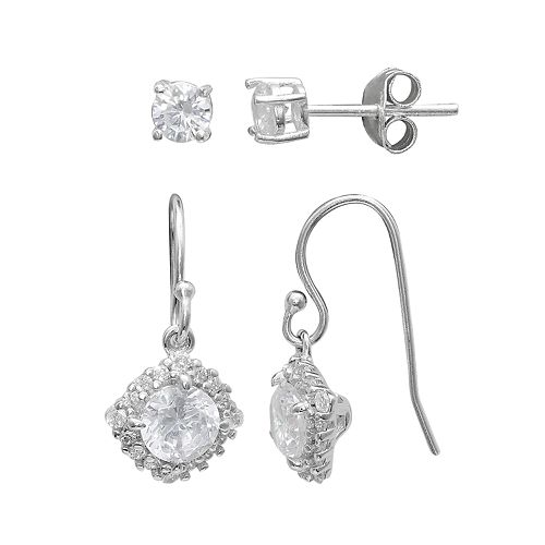 PRIMROSE Sterling Silver Cubic Zirconia Stud & Halo Drop Earring Set