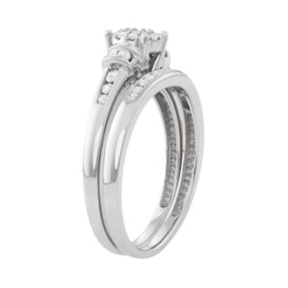 10k White Gold 1/3 ct. T.W. Diamond Cluster Engagement Ring Set