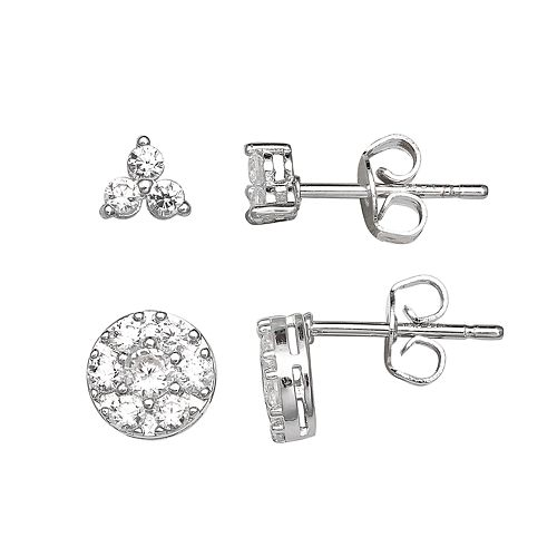 PRIMROSE Sterling Silver Cubic Zirconia Triangle & Circle Cluster Stud Earring Set