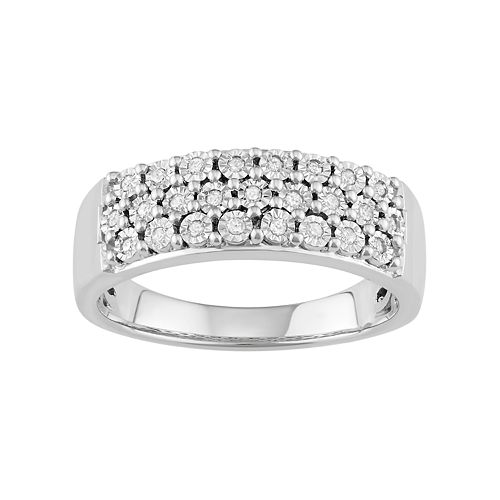 Sterling Silver 1/8 ct. T.W. Diamond Cluster Ring