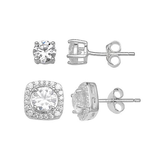 PRIMROSE Sterling Silver Cubic Zirconia Stud & Halo Earring Set