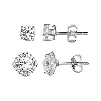 PRIMROSE Sterling Silver Cubic Zirconia Stud & Cushion Halo Earring Set