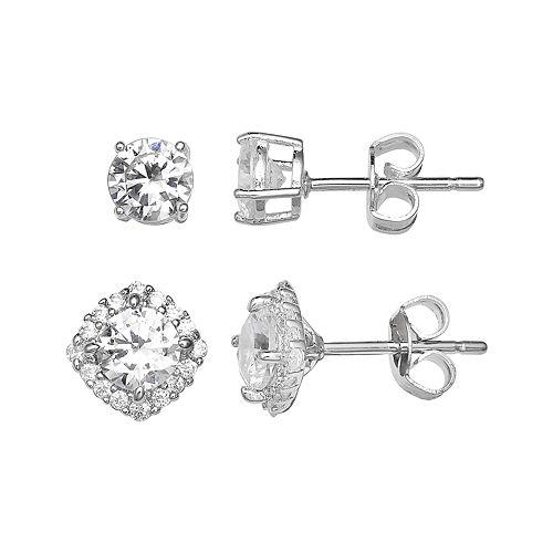 PRIMROSE Sterling Silver Cubic Zirconia Stud & Cushion Halo Earring Set