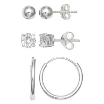 PRIMROSE Sterling Silver Cubic Zirconia, Ball Stud & Endless Hoop Earring Set