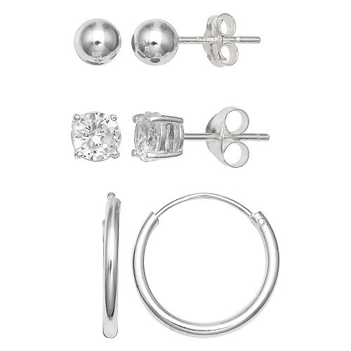 PRIMROSE Sterling Silver Cubic Zirconia, Ball Stud & Endless Hoop Earring Set