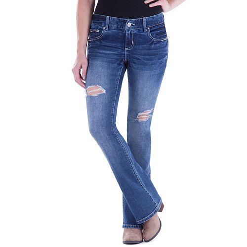 Juniors' Amethyst Ripped Curvy Slim Bootcut Jeans