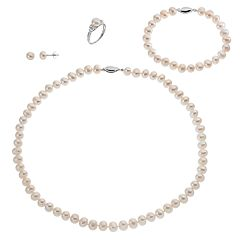 Sterling Silver Freshwater Cultured Pearl & Lab-Created White Sapphire Necklace, Bracelet, Earring & Ring Set