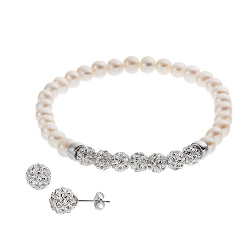 Sterling Silver Freshwater Cultured Pearl Stretch Bracelet & Stud Earring Set