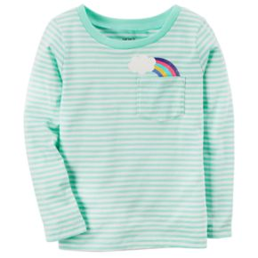 Baby Girl Carter's Striped Graphic Pocket Long-Sleeve Tee