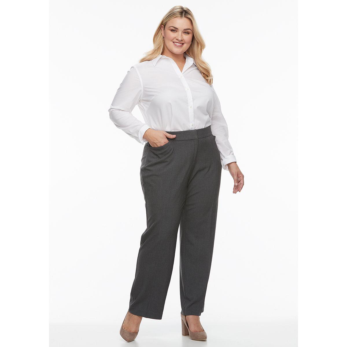 Plus Size Croft & Barrow® Curvy Fit Straight-Leg Trousers Navy hLFso