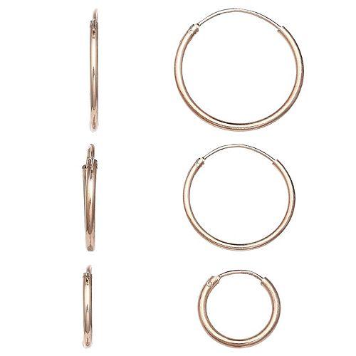 PRIMROSE Rose Gold Over Silver Endless Hoop Earrings